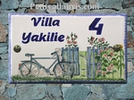 HOUSE PLAQUE RECTANGLE MODEL BICYCLE AND FLOWERS PAINT 33x20