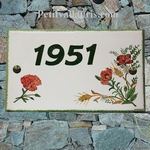 CERAMIC HOUSE PLAQUE RECTANGLE MODEL POPPIES FLOWERS PAINT