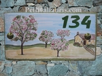 HOUSE ADDRESS PLAQUE RECTANGLE MODEL CHERRY TREE PAINTING