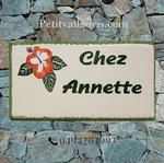 HOUSE ADDRESS PLAQUE RECTANGLE MODEL WITH HIBISCUS PAINTING