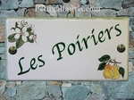 CERAMIC HOUSE PLAQUE FAIENCE ENAMEL WITH PEAR TREE PAINTING