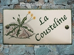 CERAMIC HOUSE PLAQUE FAIENCE ENAMEL WITH COUSTELINE PAINTING