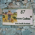 HOUSE PLAQUE FAIENCE ENAMELED WITH  SCARECROW PAINTING