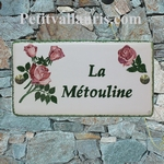 CERAMIC HOUSE PLAQUE FAIENCE ENAMELED WITH ROSES PAINTING