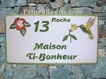PLAQUE FAIENCE DE MAISON MODELE RECTANGLE DECOR COLIBRI