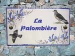 PLAQUE DE MAISON FAIENCE RECTANGLE DECOR PALOMBES