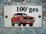 CERAMIC HOUSE PLAQUE RECTANGLE MODEL FORD MUSTANG CAR DECOR