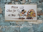 PLAQUE DE MAISON FAIENCE DECOR PIZZAIOLO ET FOUR PIZZA