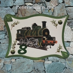 PLAQUE DE MAISON EN FAIENCE PARCHEMIN DECOR LOCOMOTIVE
