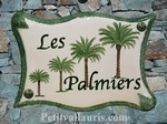 PLAQUE DE MAISON FAIENCE PARCHEMIN DECOR 4 PALMIERS