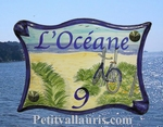 PLAQUE DE MAISON FAIENCE PARCHEMIN DECOR PLAGE ATLANTIQUE