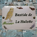 CERAMIC HOUSE PLAQUE RECTANGLE MODEL HULOTTE OWLS PAINTING