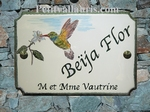 STYLE HOUSE PLAQUE RECTANGLE MODEL HUMMING-BIRD PAINTING