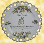 MARRIAGE PLATE SUNFLOWER MODEL VERMEIL POEM ENGLISH POSSIBLE