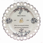 CERAMIC ROSEWOOD WEDDING PLATE SUNFLOWER MODEL WITH POEM A