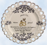 GOLD WEDDING CERAMIC PLATE SUNFLOWER BLUE MODEL WITH POEM