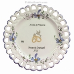 BIRTHDAY MARRIAGE PLATE SUNFLOWER MODEL BLUE FLOWERS COLOR