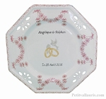 ASSIETTE DE MARIAGE OCTOGONALE DECOR TRADITION MOUSTIER ROSE
