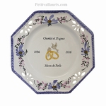 FAIENCE MARRIAGE PLATE OCTAGONAL MODEL BLUE FLOWERS