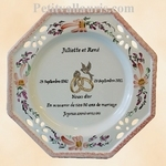 MARRIAGE PLATE OCTAGONAL MODEL SALMON FLOWERS WITH POEM
