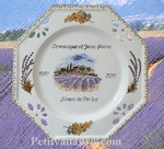 MARRIAGE PLATE OCTAGONAL MODEL MIMOSAS AND LAVANDER DECOR