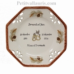MARRIAGE PLATE OCTAGONAL SMALL SIZE MODEL PINE TREE DECOR