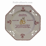 MARRIAGE PLATE MODEL PINK MOUSTIERS DECOR DIAMOND WEDDING