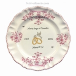 ASSIETTE DE MARIAGE DE STYLE DECOR TRADITION MOUSTIERS ROSE