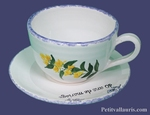 CUSTOMIZED TEA-CUP AND UNDER CUP GENTIANE DECORATION