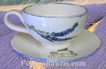 FAIENCE CUSTOMIZED TEA-CUP AND UNDER CUP LAVANDER DECORATION