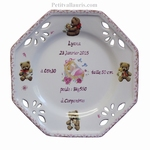 LITTLE CUSTOMIZED BIRTH PLATE FOR GIRL + BEAR CUB DECORATION
