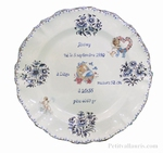 PLATE LOUIS XV MODEL CUSTOMIZED BIRTDAY MEMORY BLUE DECOR