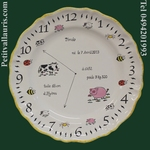 CUSTOMIZED BIRTH PLATE MEMORY LITTLE ANIMALS DECORATION