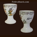 CUSTOMIZED EGG CUP OLD MOUSTIER TRADITION DECORATION