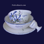 SET CHILDREN 4 ITEMS BLUE FLOWERS WITH CUSTOMIZED TEXT