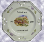 FAIENCE OCTAGONAL PLATE LAVENDERS FIELD DECO CUSTOMIZED TEXT