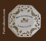 PERSONALIZED OCTAGONAL PLATE SMALL SIZE MODEL OLD MOUSTIERS