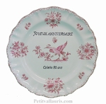ASSIETTE LOUIS XV TRADITION MOUSTIERS ROSE PERSONNALISE