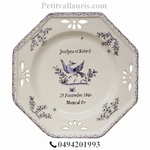 FAIENCE OCTAGONAL PLATE LARGE MODEL BLUE +CUSTOMIZED TEXT