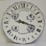 CUSTOMIZED WALL FAIENCE CLOCK BLUE OLD MOUSTIERS DECORATION