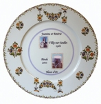 BIRTHDAY MARRIAGE PLATE PORCELAIN MODEL + 2 PHOTOS INSIDE