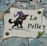 HOUSE PLAQUE PARCHMENT SMALL MODEL WITCH-CHAT PAINTING