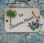 ADDRESS HOME PLAQUE PALM TREE,VIOLET FLOWERS AND CHISTERA