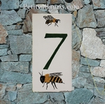 HOUSE PLAQUE RECTANGLE MODEL BEES PAINT WITH GREEN NUMBER
