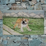PLAQUE DE MAISON FAIENCE RECTANGLE DECOR CHIEN BOULEDOGUE