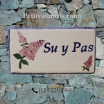 CERAMIC HOUSE PLAQUE FAIENCE ENAMELED WITH LILAC PAINTING