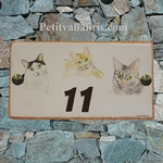 HOUSE PLAQUE RECTANGLE MODEL WITH 3 CATS DECORATION