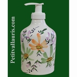 LIQUID SOAP DISPENSER GREEN AND ORANGE FLOWERS DECORATION