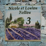 CERAMIC HOME PLAQUE DECOR LAVANDER FIELD AND FARM HOUSE