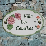 HOUSE CERAMIC PLAQUE FOR NAME OVAL MODEL CAMELLIA FLOWERS